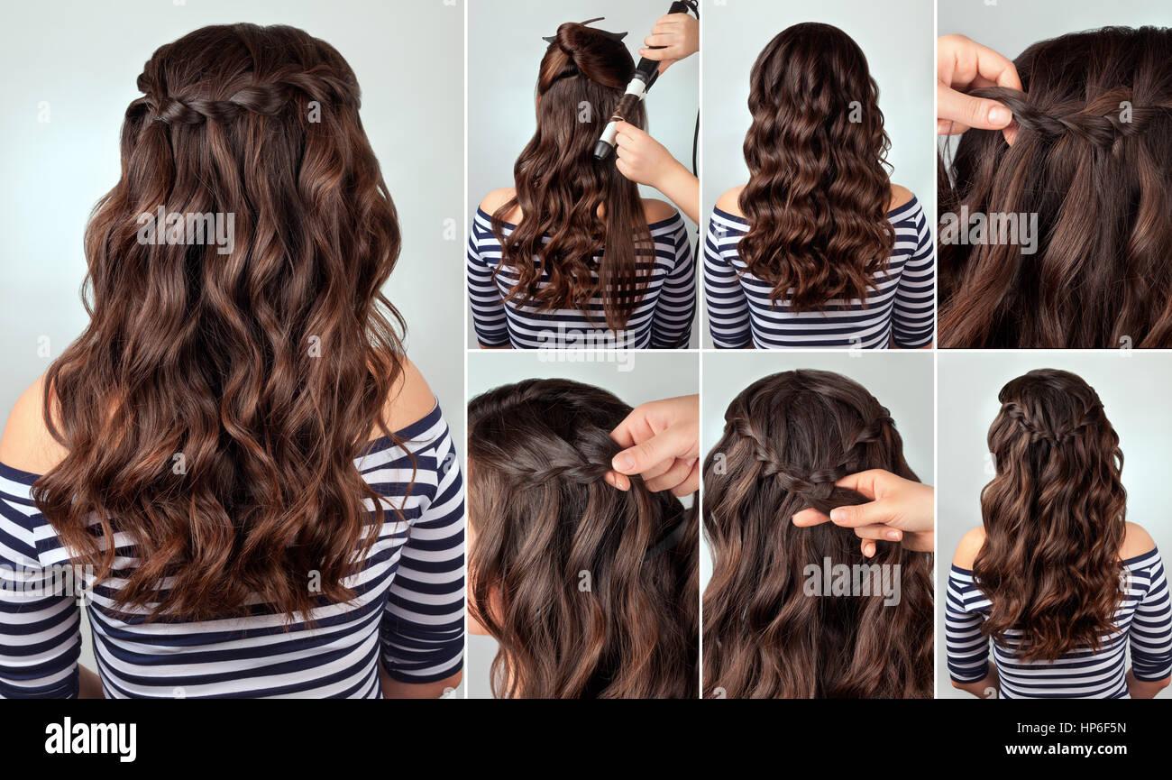 Peinado trenza сascade sobre el cabello rizado tutorial. Peinados para  cabello largo. Estilo de mar Fotografía de stock - Alamy