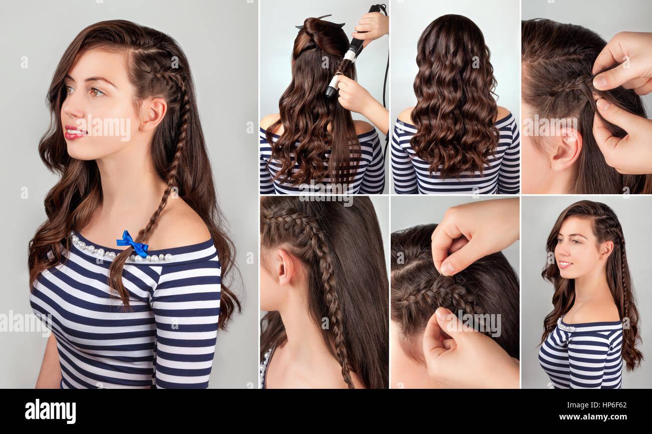 Por Un Lado El Peinado En El Cabello Rizado Tutorial Peinados Para