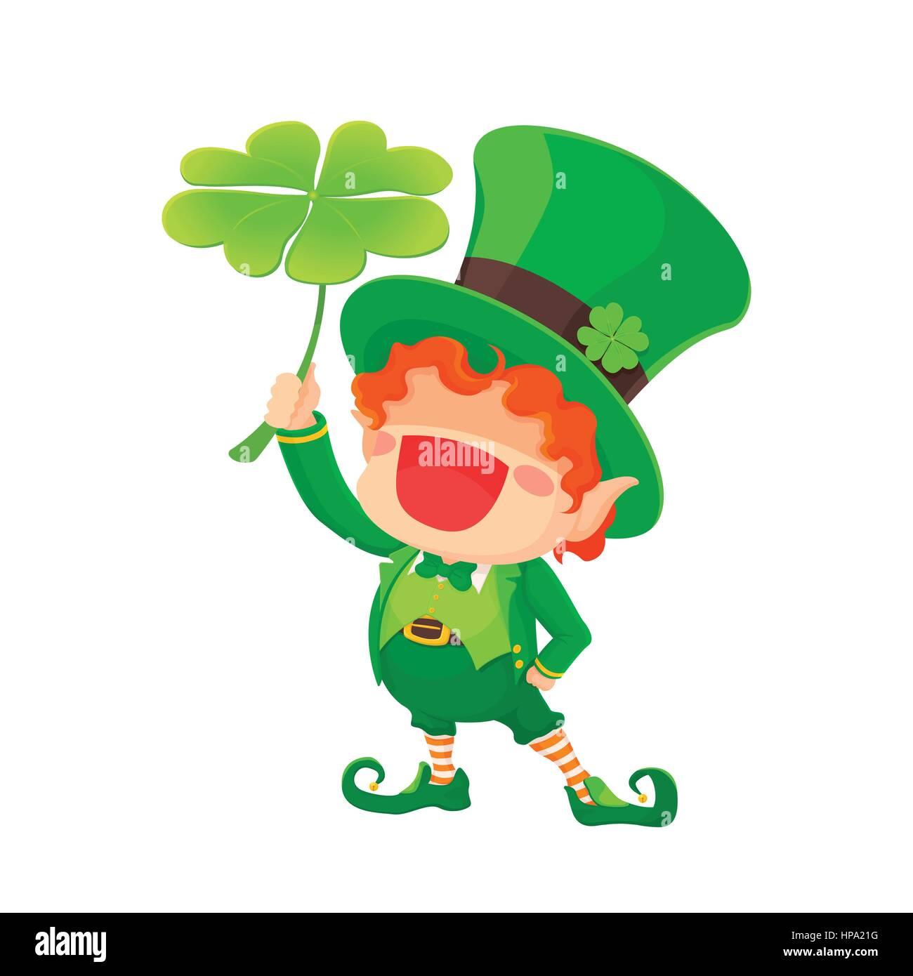 Ilustración vectorial del Día de San Patricio feliz duende con trébol de cuatro  hojas. Trébol 2bf9bbe74710