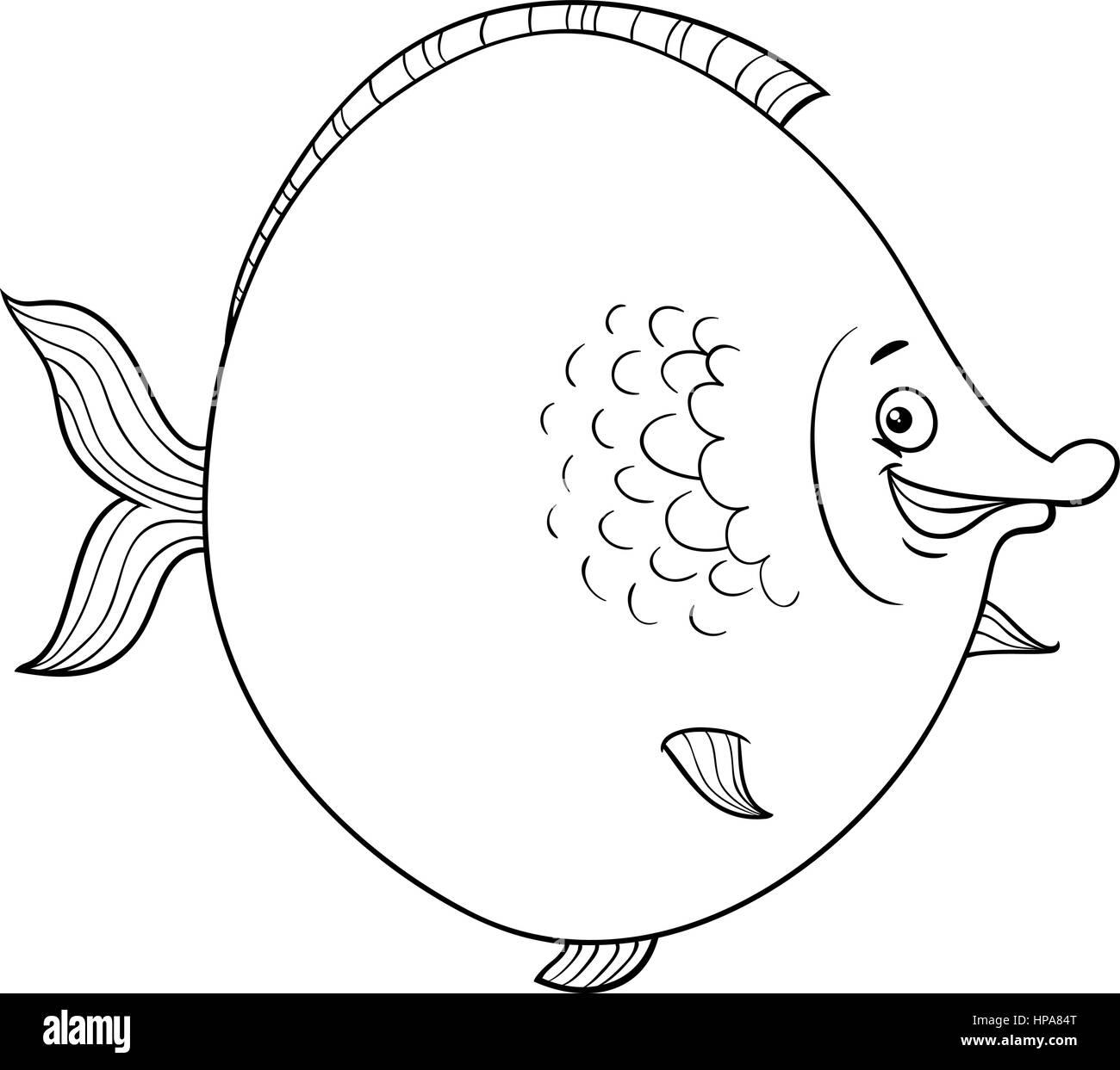 Ilustración caricatura en blanco y negro de grandes peces Mar Vida ...