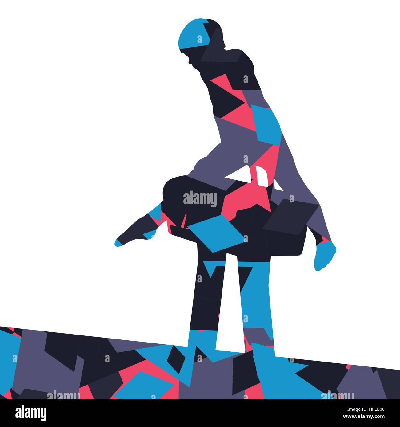 031fe9d1d988 Los niños activos boy deporte silueta en potro de anillas en abstracto  fondo de mosaico ilustración vector