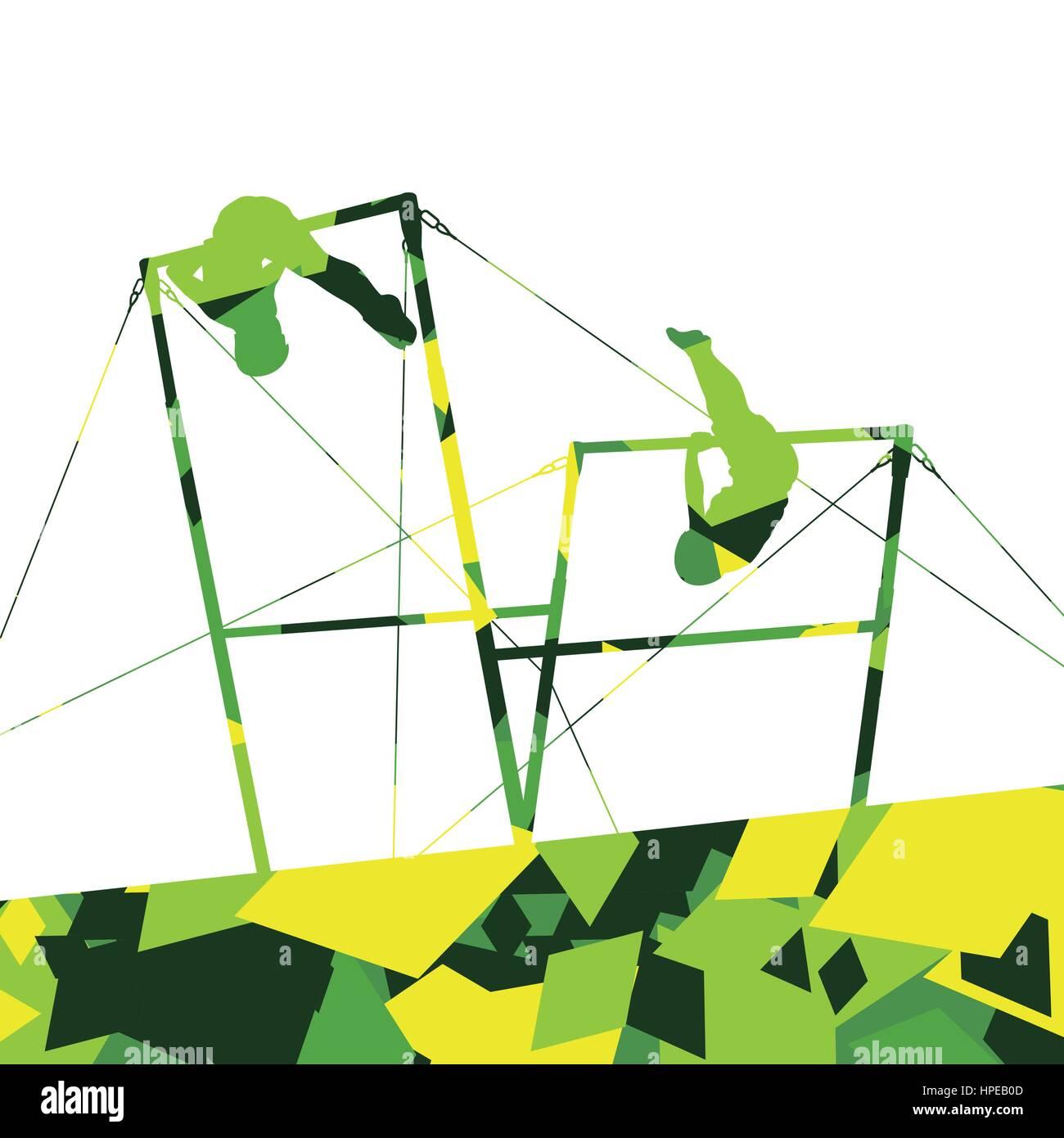 b2f999d45759 Los niños activos sport boy siluetas en barras paralelas en abstracto fondo  de mosaico ilustración vector