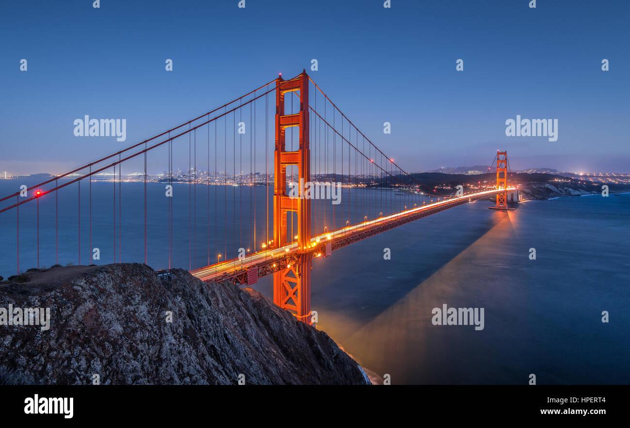 Classic vista panorámica del famoso puente Golden Gate, visto desde el punto de vista de Spencer de la batería Imagen De Stock