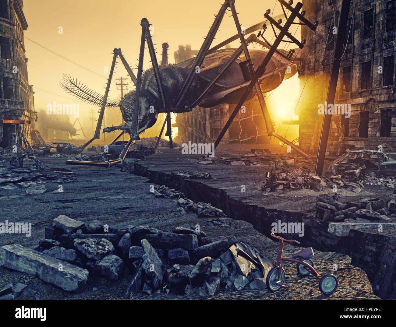Los insectos gigantes destruir la ciudad. Concepto 3D Imagen De Stock