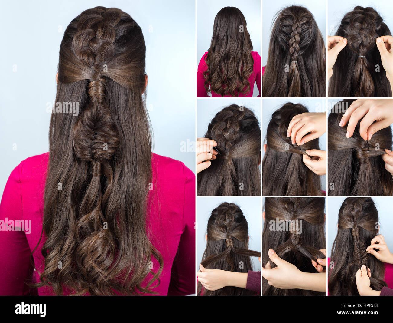 Moderno Peinado Con Trenza Boho Rizado El Pelo Suelto Tutorial De
