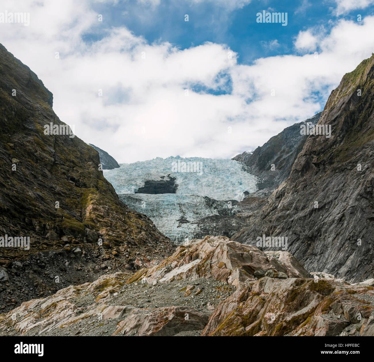 Lengua glaciar, el glaciar Franz Josef, West Coast, Southland, Nueva Zelanda Foto de stock