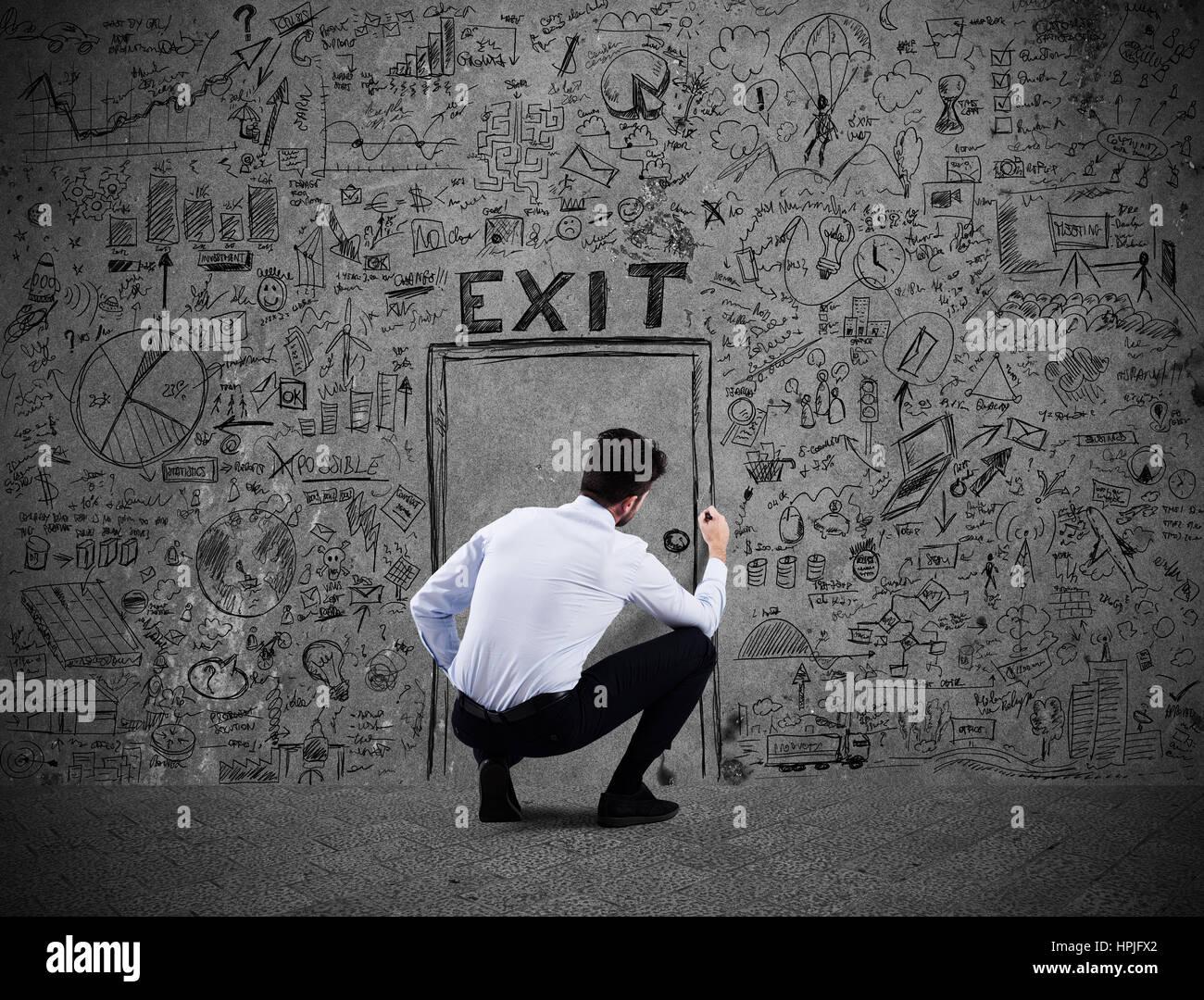 Escapar del estrés y la crisis financiera de negocios Imagen De Stock