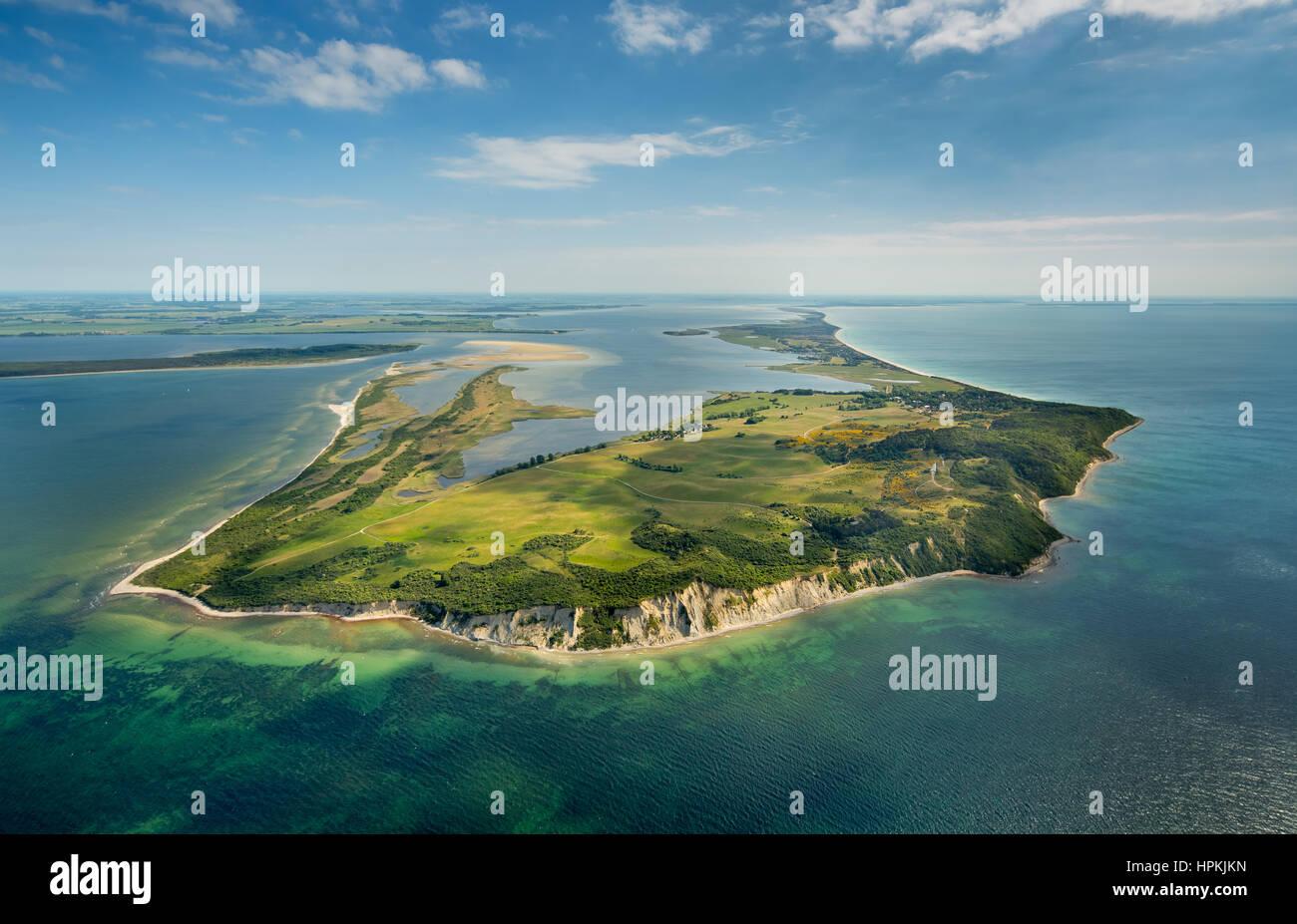 Vista desde el norte de la isla, Isla Hiddensee Hiddensee, costa báltica, Pomerania Occidental, Mecklenburg-West Pomerania, Alemania Foto de stock