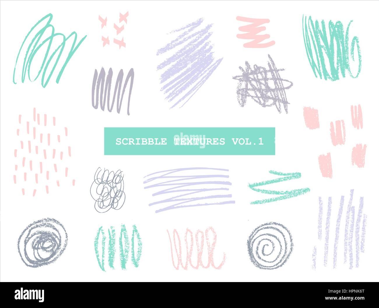Un conjunto de texturas de garabatear dibujados a mano en colores pastel aislado sobre fondo blanco. Ilustración del Vector