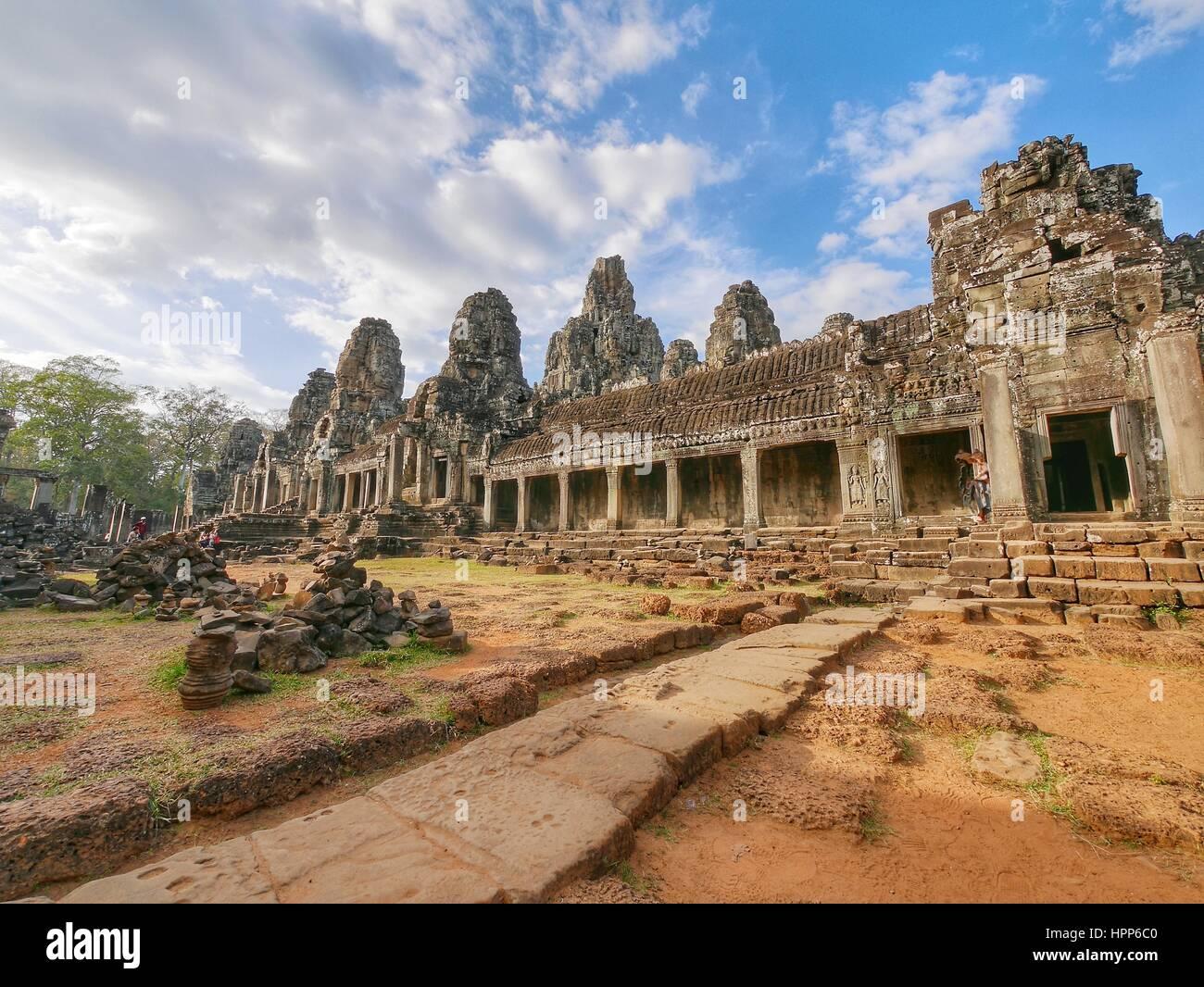 Templo Bayon en Angkor Wat Imagen De Stock
