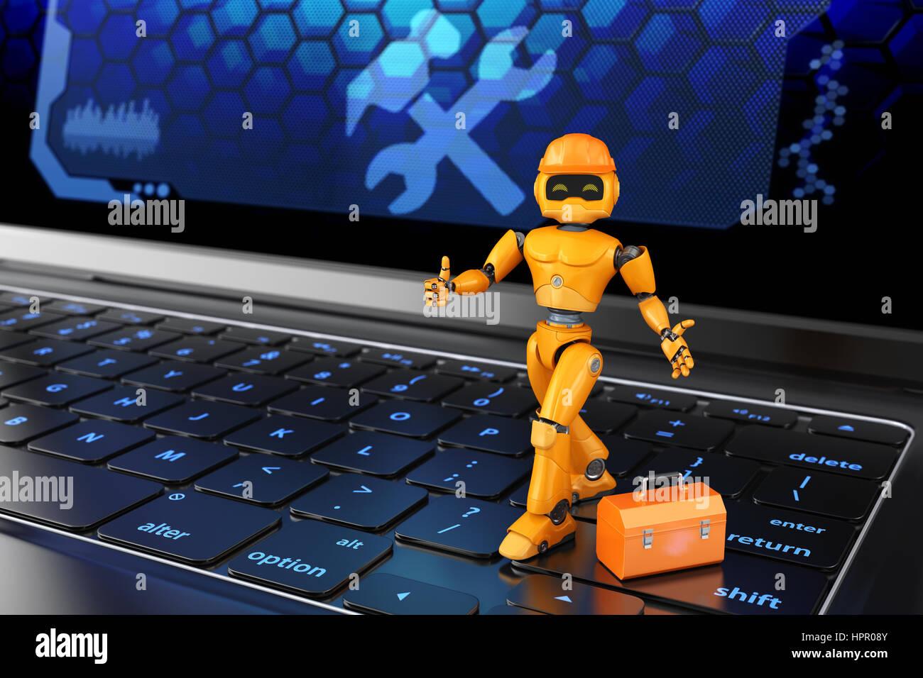 Pequeño robot reparador de pie en el teclado. Ilustración 3D Imagen De Stock