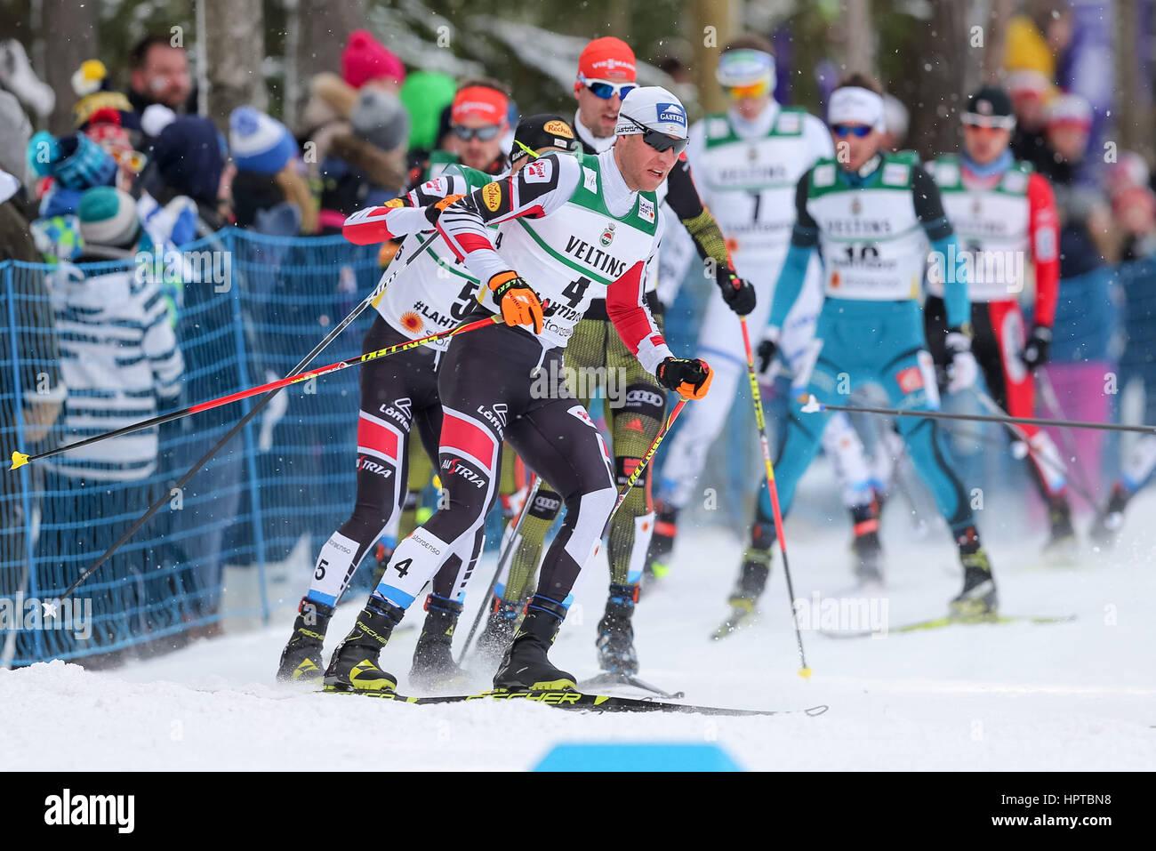 Lahti, Finlandia. 24 Feb, 2017. 24.02.2017 Lahti Bernhard Gruber (AUT), campeonatos de Esquí Nórdico FIS, el nórdico Foto de stock