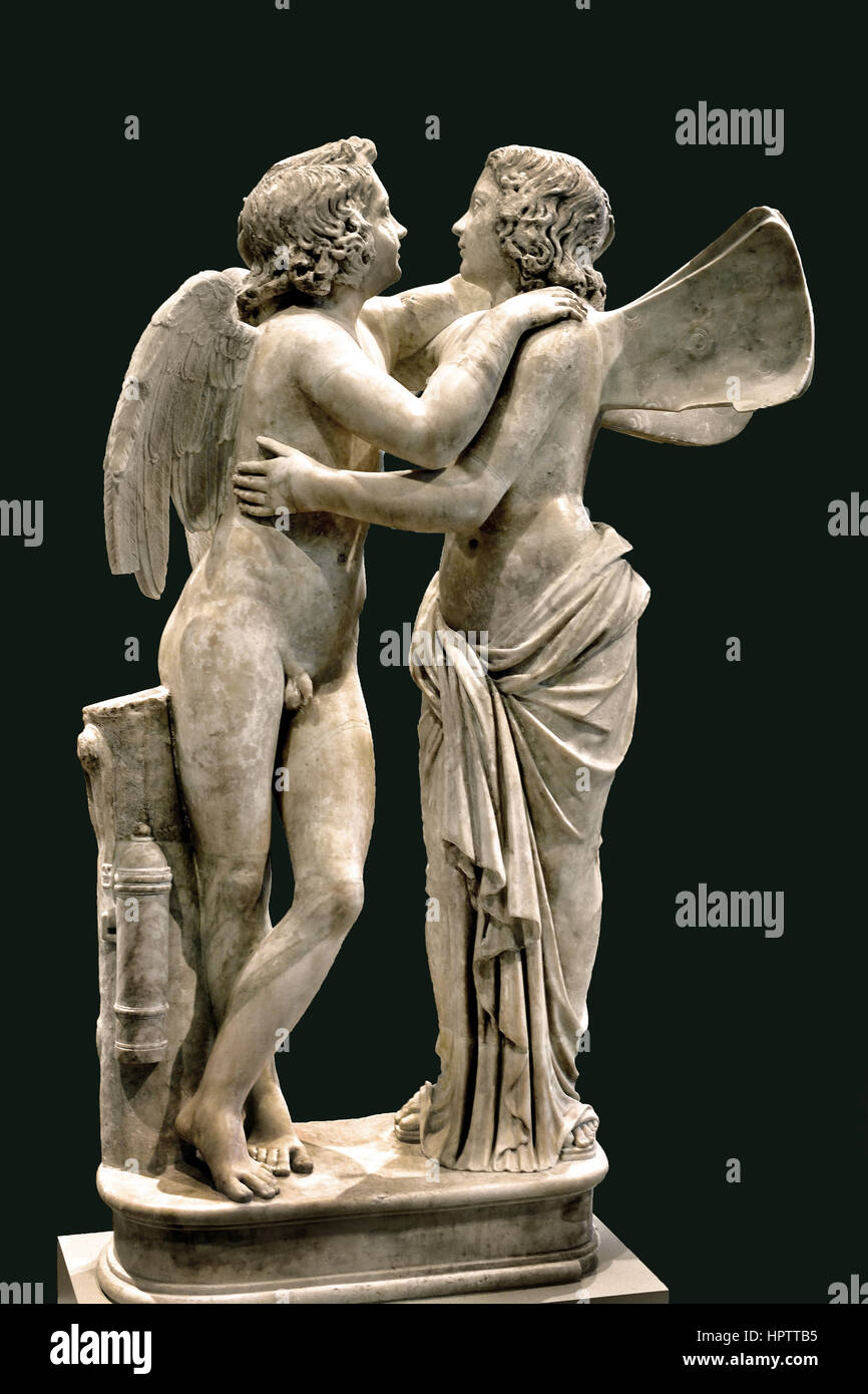 Amor y Psique; copia romana alrededor de 150 AD, Original 1ro siglo A.C. Imagen De Stock