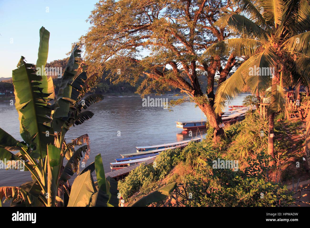 Laos, Luang Prabang, el río Mekong, Foto de stock