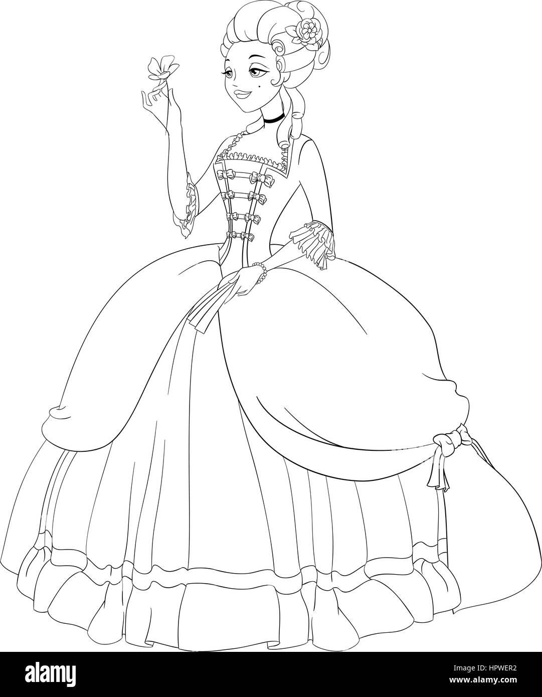 Esbozó Rococó En Dama Vestidos Antiguos Página Para Colorear