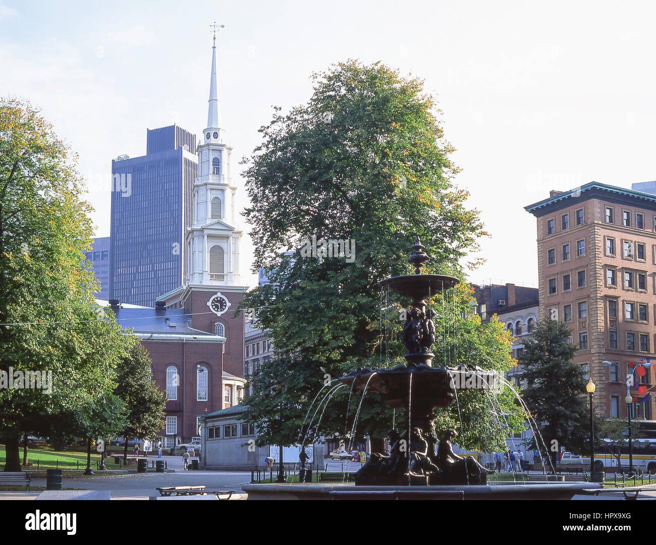 Brewer Fountain, Park Street, Boston Common, Boston, Massachusetts, Estados Unidos de América Imagen De Stock