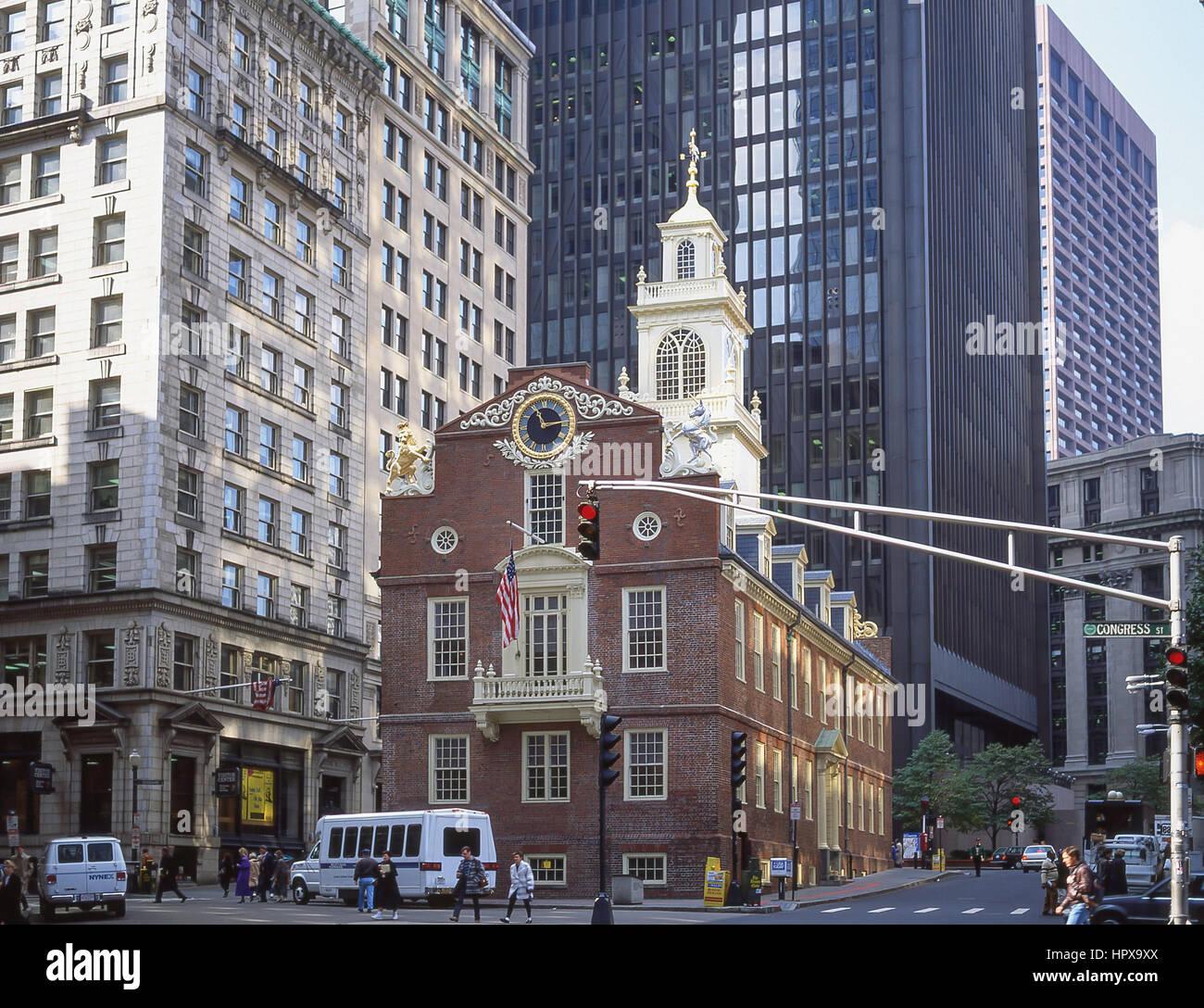 El Old State House (1713), Washington y calles del Estado, Boston, Massachusetts, Estados Unidos de América Imagen De Stock