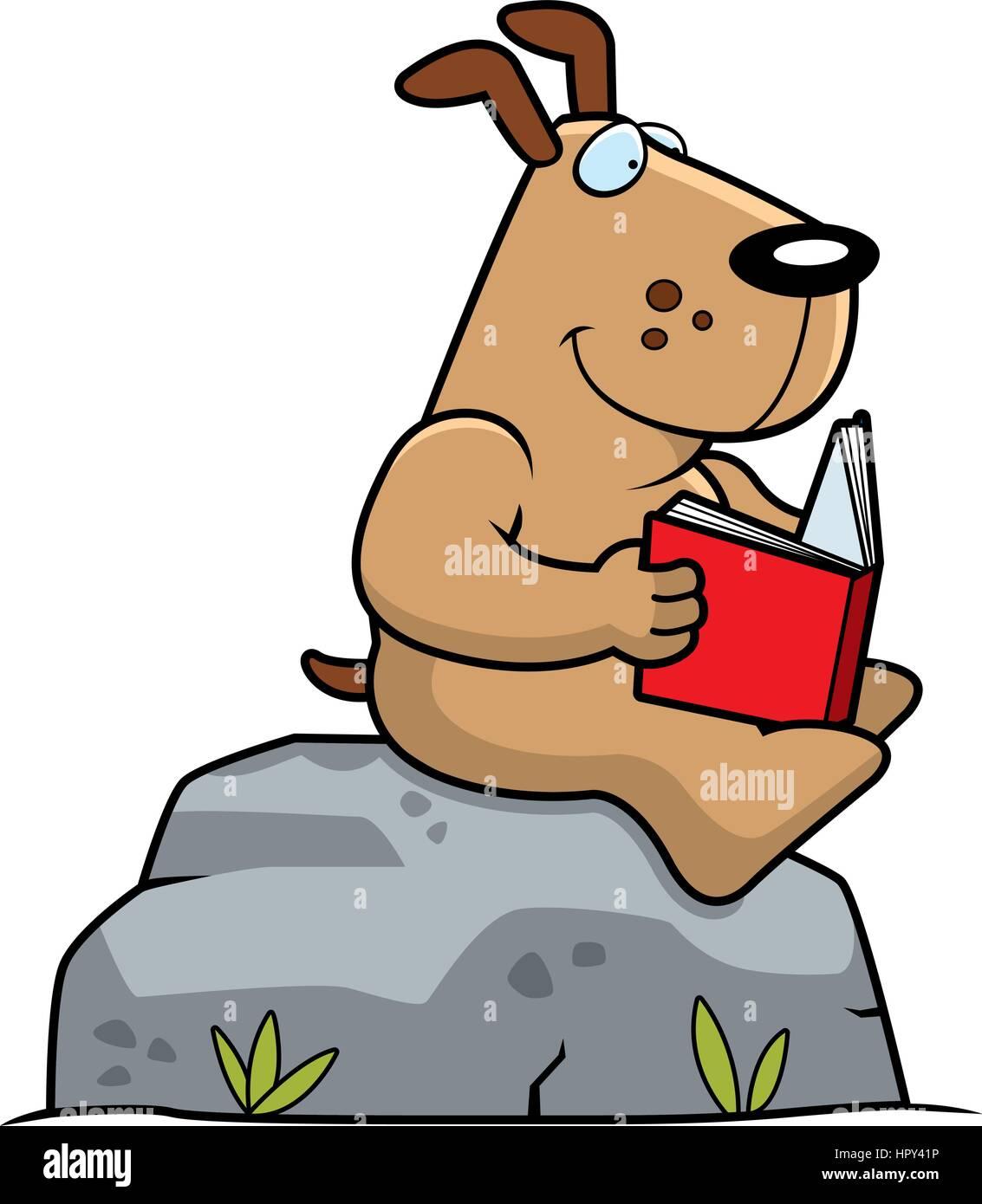 Un Perro De Dibujos Animados De Leer Un Libro Sobre Una Roca