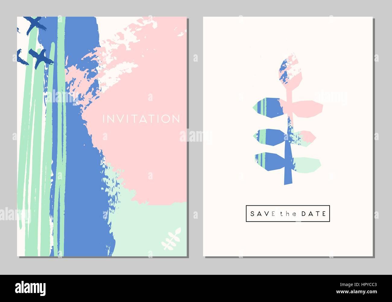 Un conjunto de dos tarjetas de diseño de papelería de boda. Trazos de pincel abstracto en colores pastel con elementos Ilustración del Vector