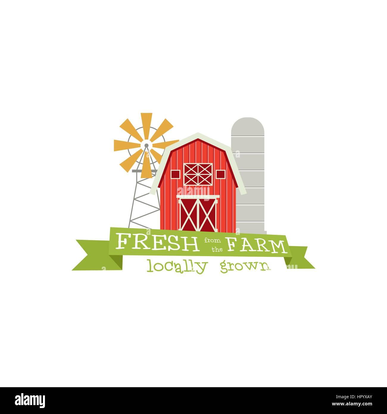 Desde la granja fresco concepto logotipo. La plantilla con el ...