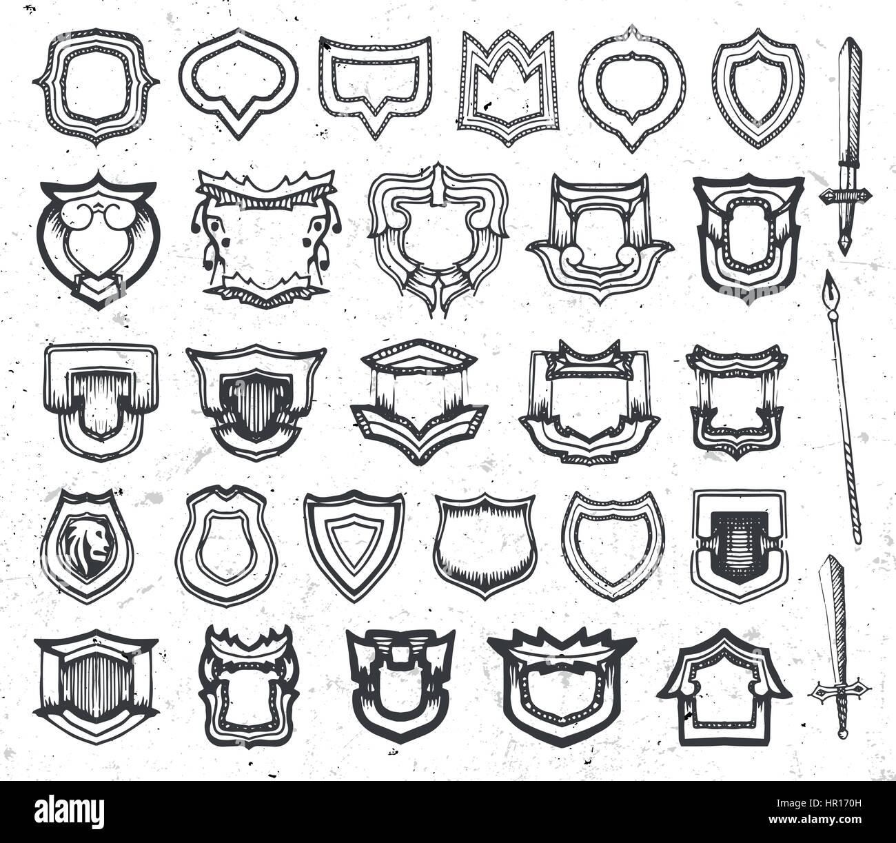 e83734437cc Resumen aisladas de color blanco y negro escudo,escudo y espada logos, arma  antigua colección logotipos ilustración vectorial.