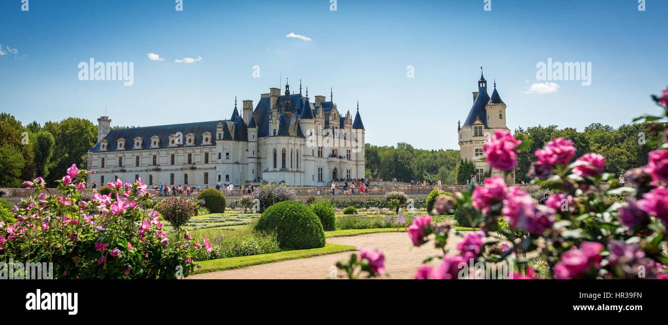Pintorescas vistas panorámicas del castillo de Chenonceau, mirando a través de los jardines con rosas Imagen De Stock
