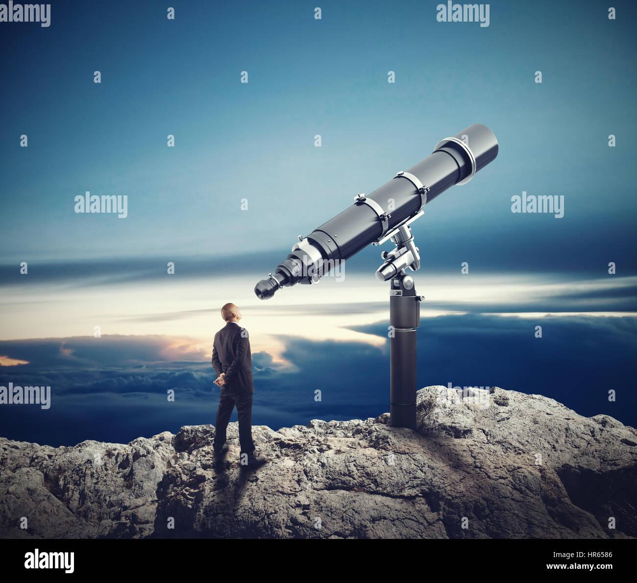 Mirando hacia el futuro. 3D Rendering Foto de stock