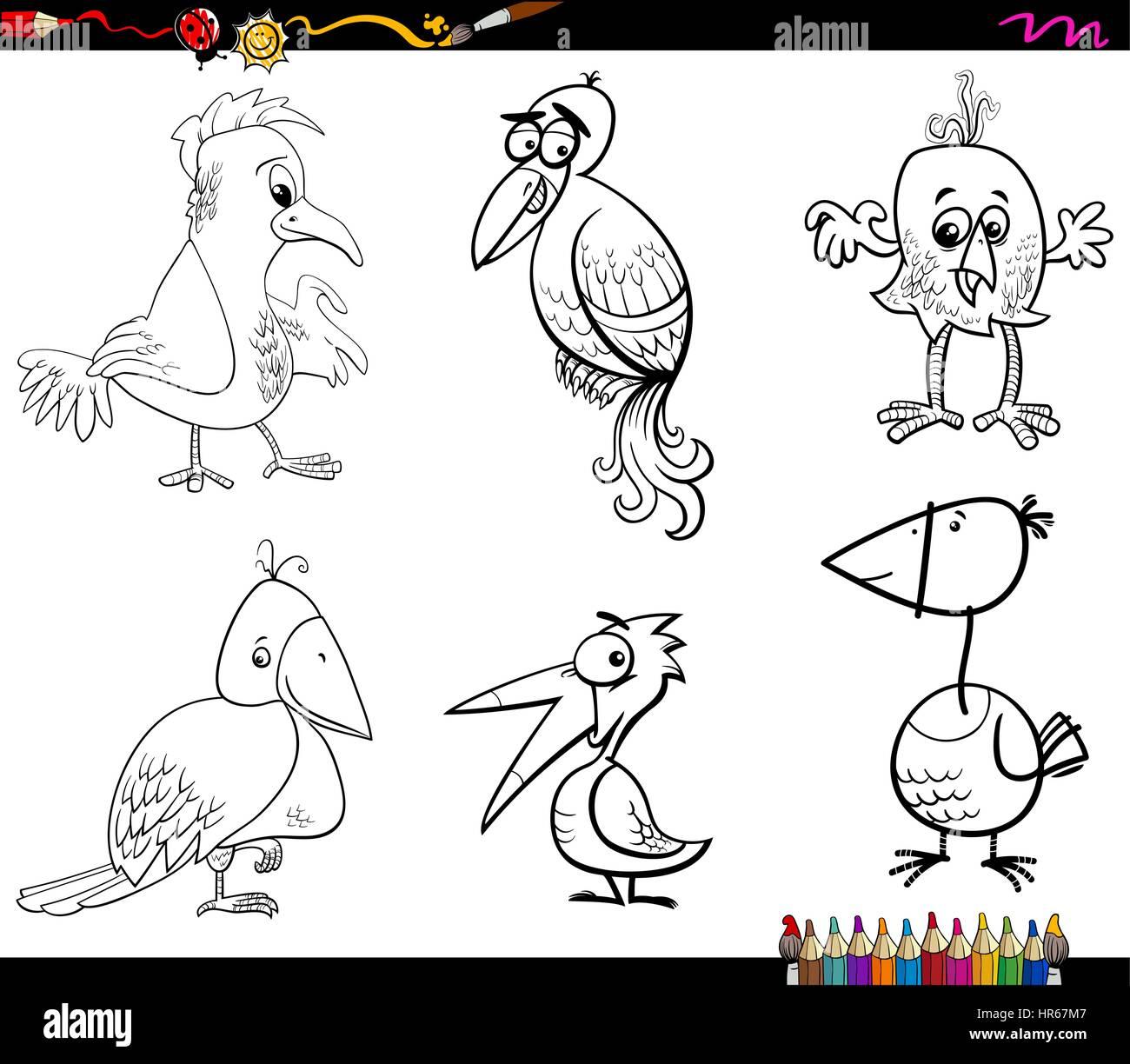 Ilustración Caricatura En Blanco Y Negro De Personajes De Animales