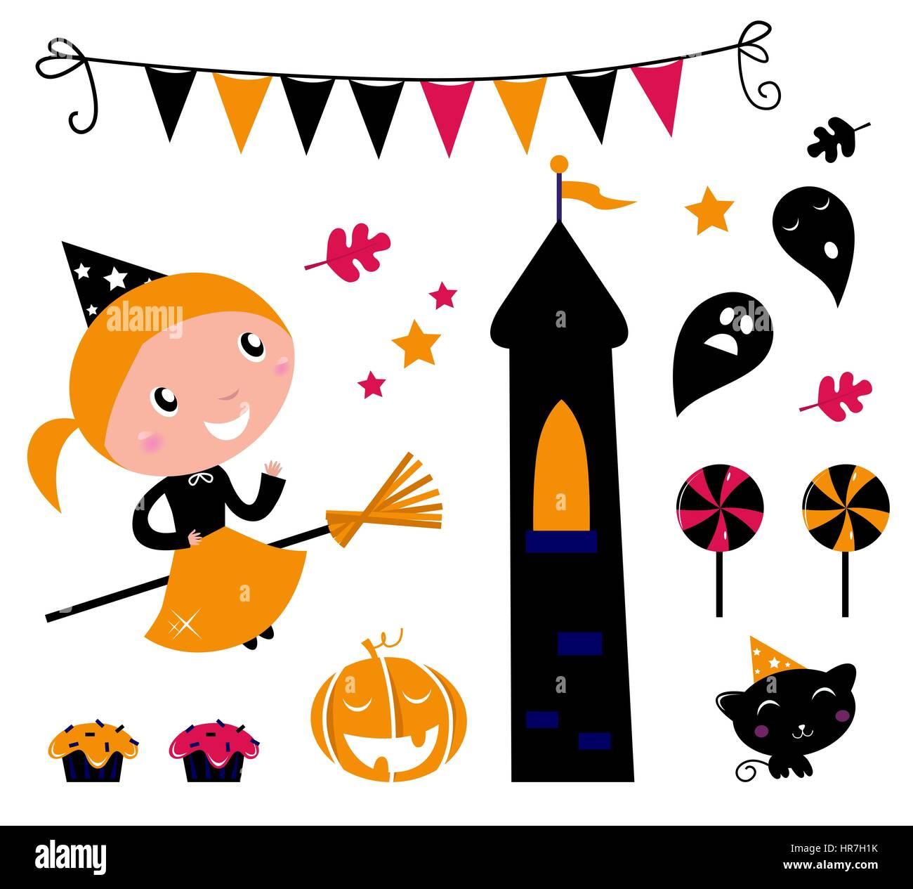 10618058 - cute little halloween witch, diversos elementos para la celebración de vectores. Foto de stock
