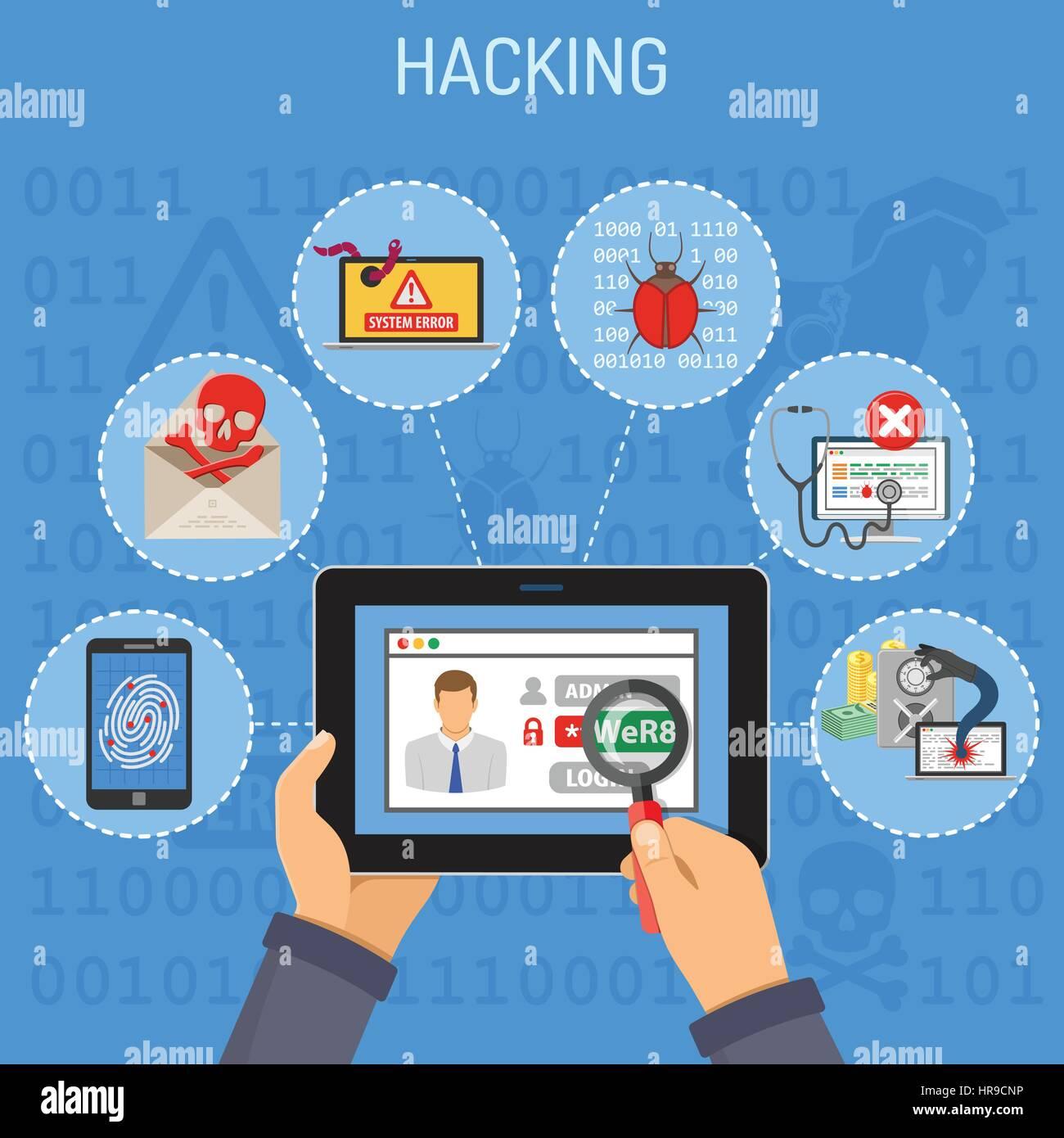 Concepto de hacking y seguridad en Internet Imagen De Stock