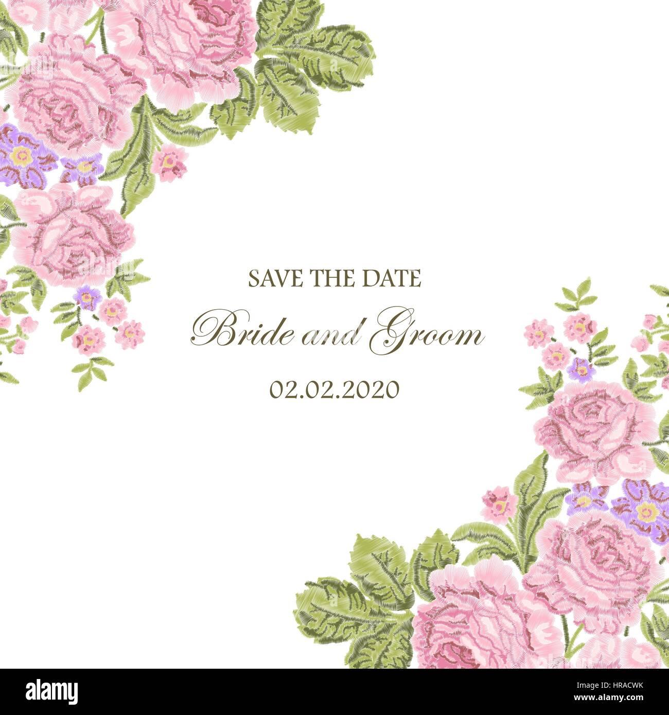 Marco floral bordada con rosas tnica y el espacio para el - Disenos tarjetas de boda ...