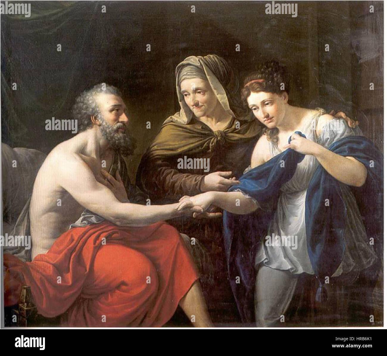 Sara presentando a la sierva egipcia Agar a su marido Abraham (Real Academia Catalana de Bellas Artes de San Jorge) Imagen De Stock
