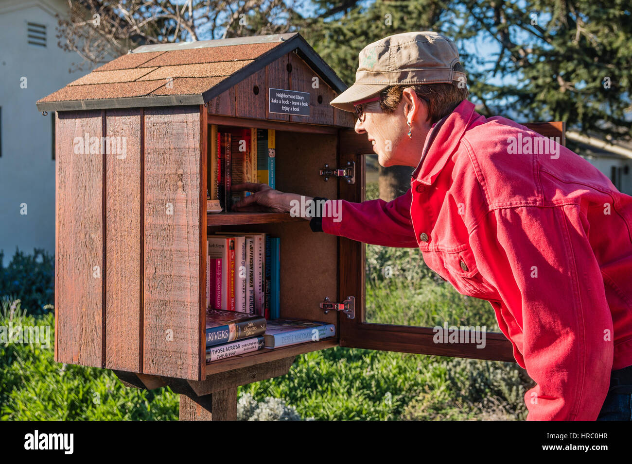 Una mujer que navega a través de la selección de libros en una pequeña biblioteca libre en su vecindario. Imagen De Stock