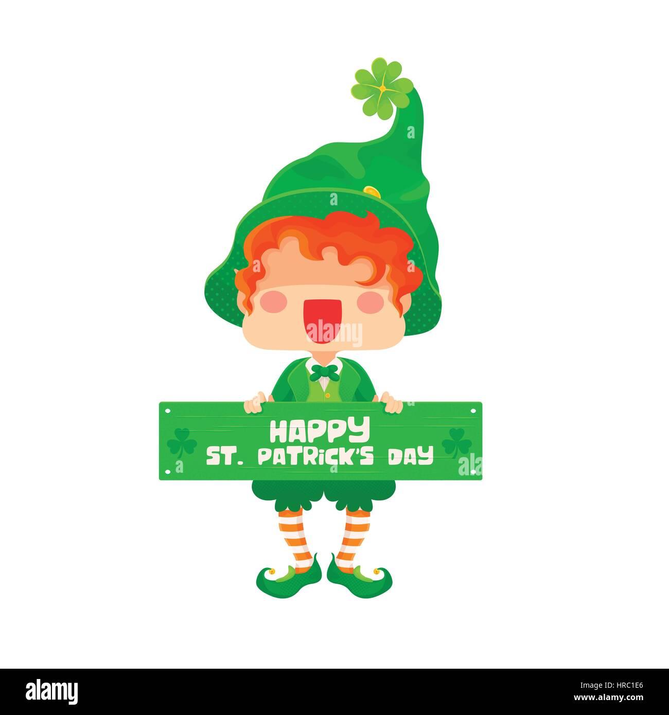 5b98917d3 Ilustración vectorial del Día de San Patricio feliz duende con signo de  saludo para tarjeta de