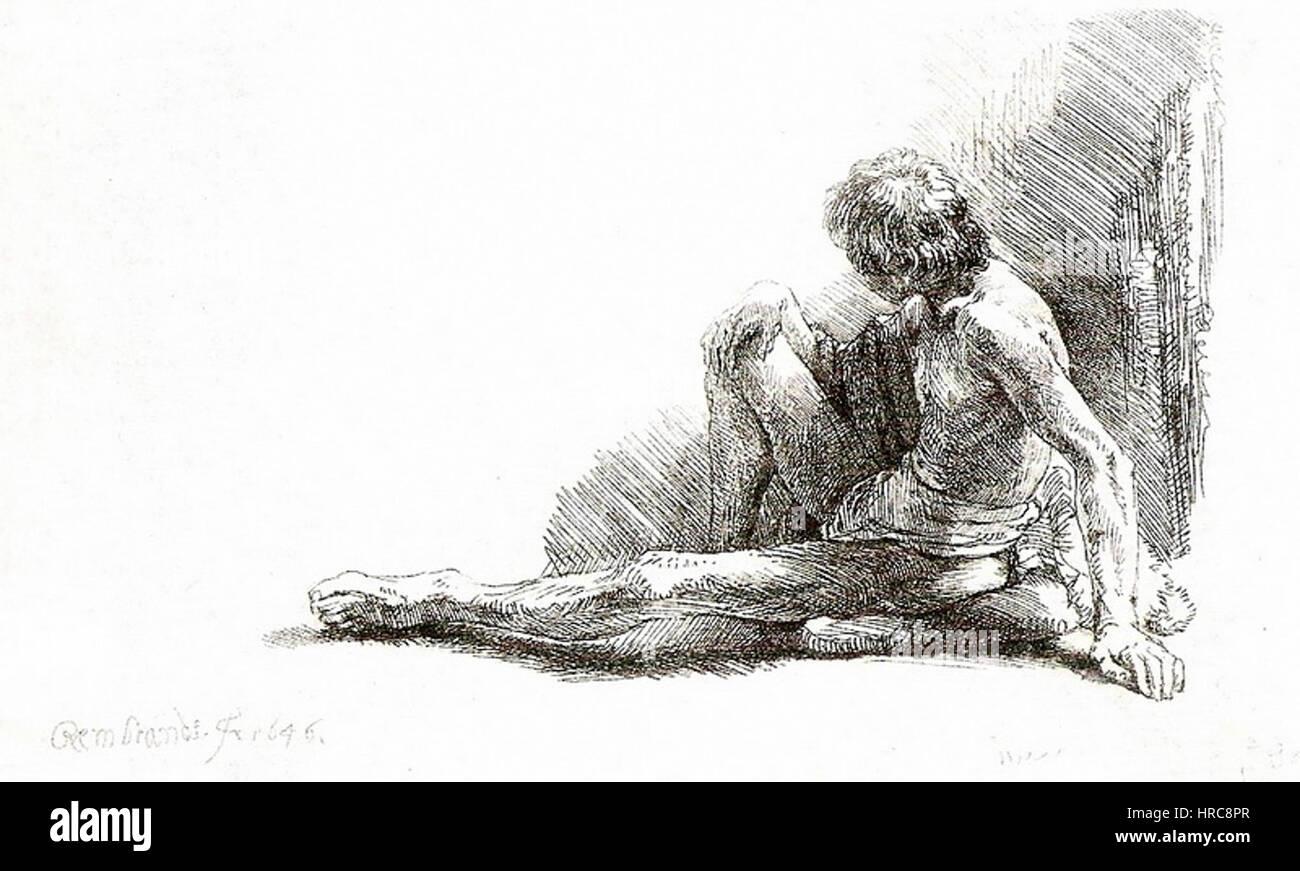 Rembrandt - Nu masculino sentado, 1646 Imagen De Stock