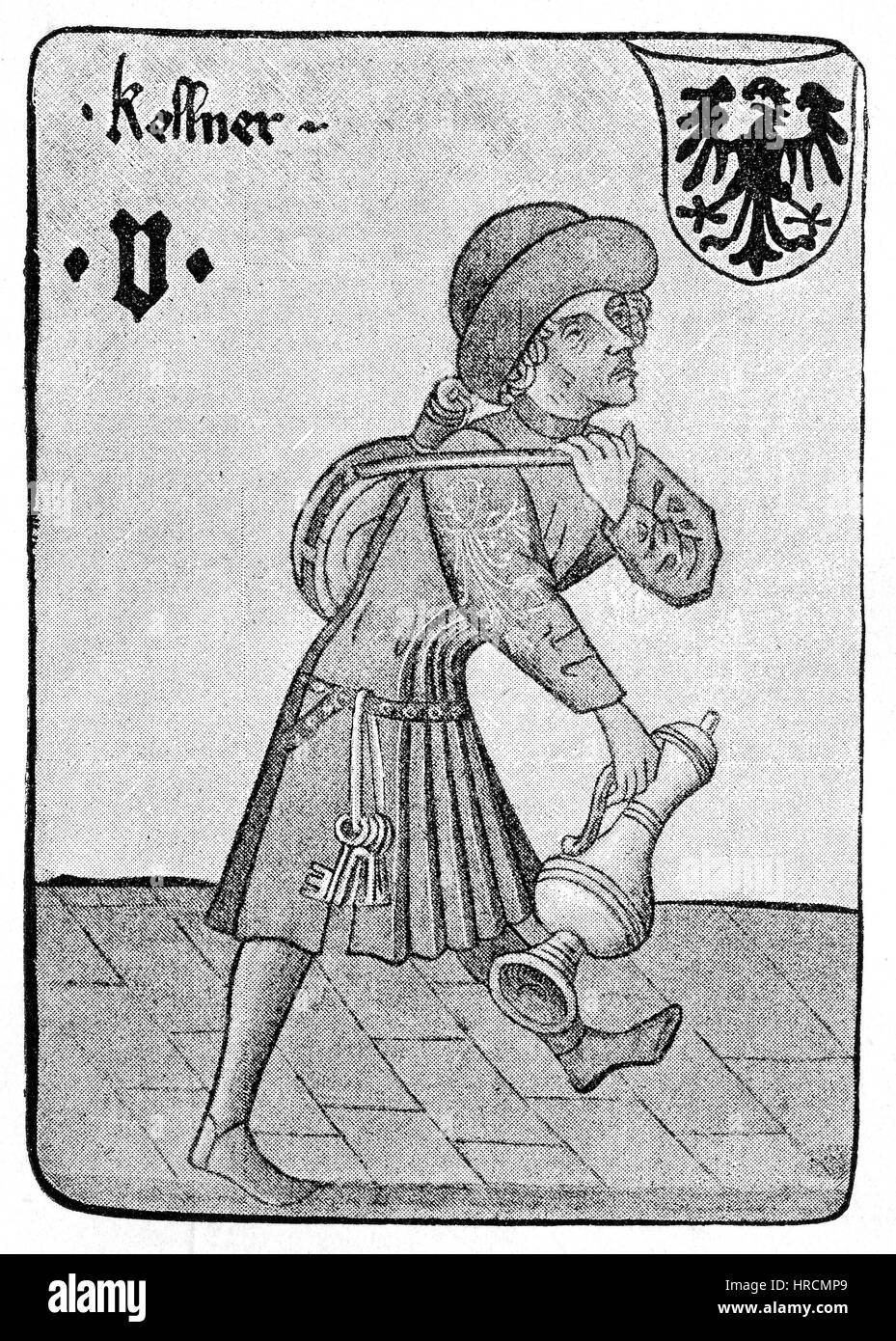 El camarero, enólogo, una hoja de las cuatro cincos desde un juego de tarjeta cortesana del siglo XV, Viena, Austria, Foto de stock