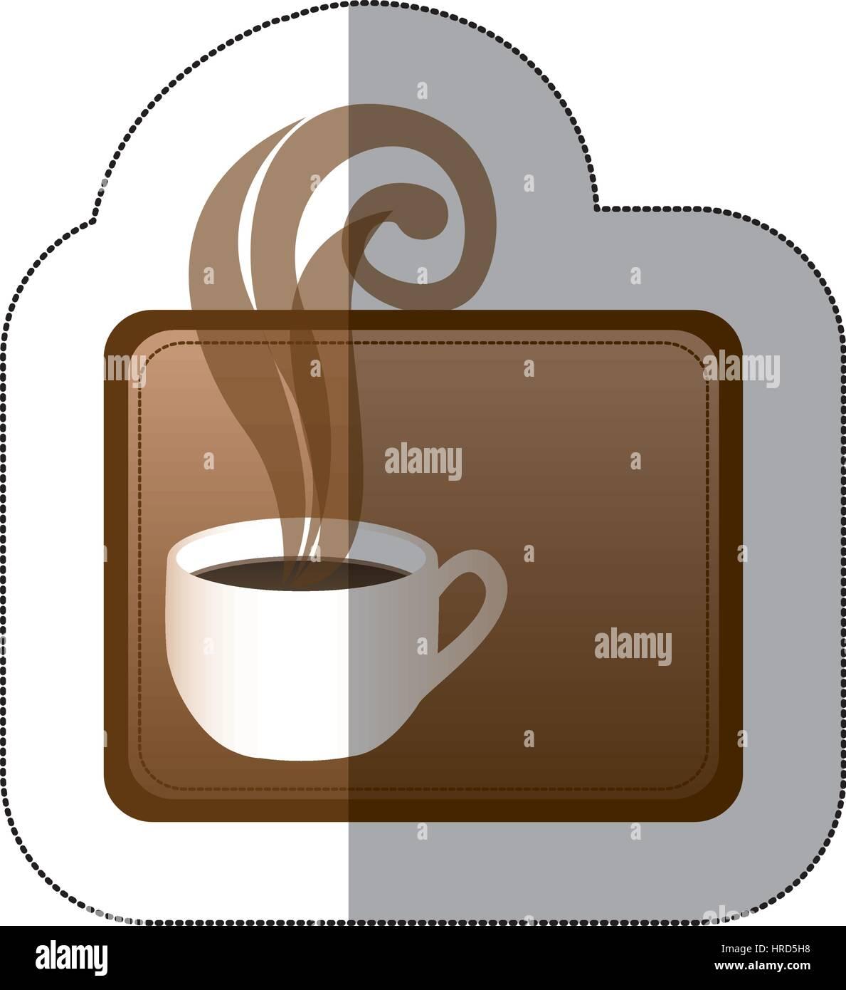 Brown squard pequeño símbolo de la taza de café Ilustración del Vector