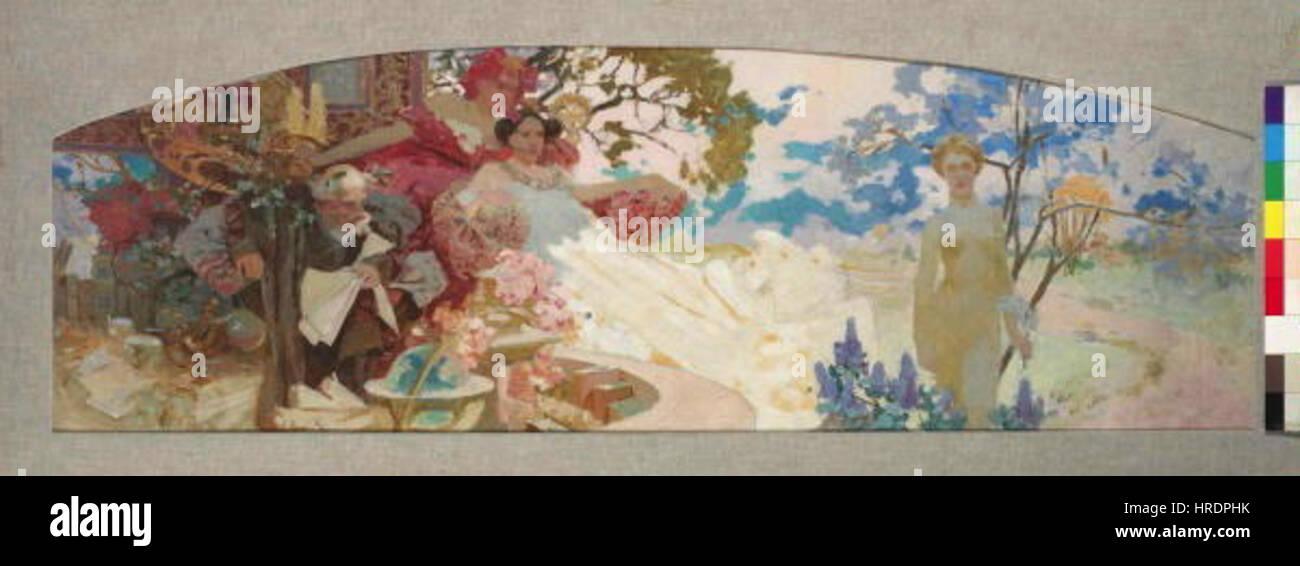 Autor Alfons Mucha 24.7.1860-14.7.1939 - Navrh na nastennou malbu pro nemecke divadlo v Nuevo Yorku Foto de stock