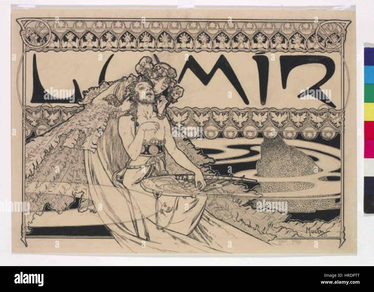 Autor Alfons Mucha 24.7.1860-14.7.1939 - Zahlavi casopisu Lumir Foto de stock