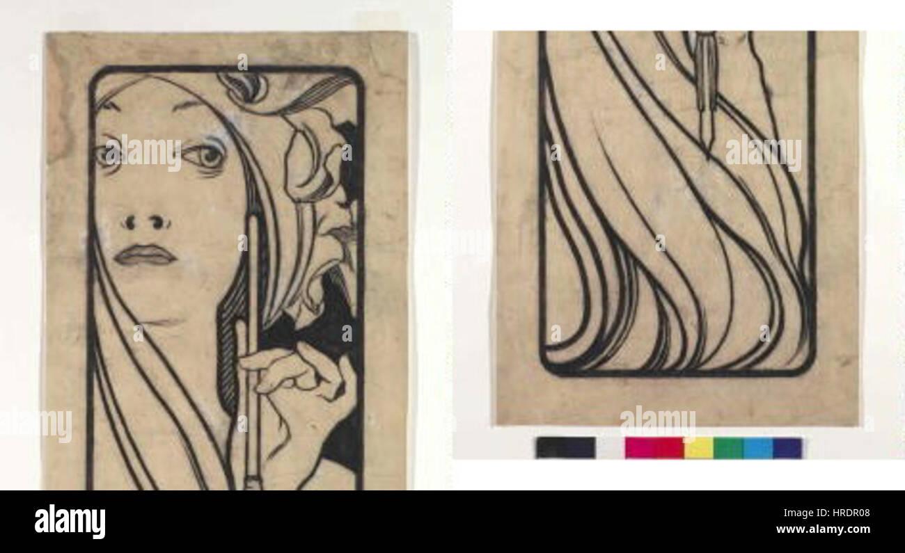 Autor Alfons Mucha 24.7.1860-14.7.1939 - Kresba pro obalku casopisu Lestampe moderne Foto de stock