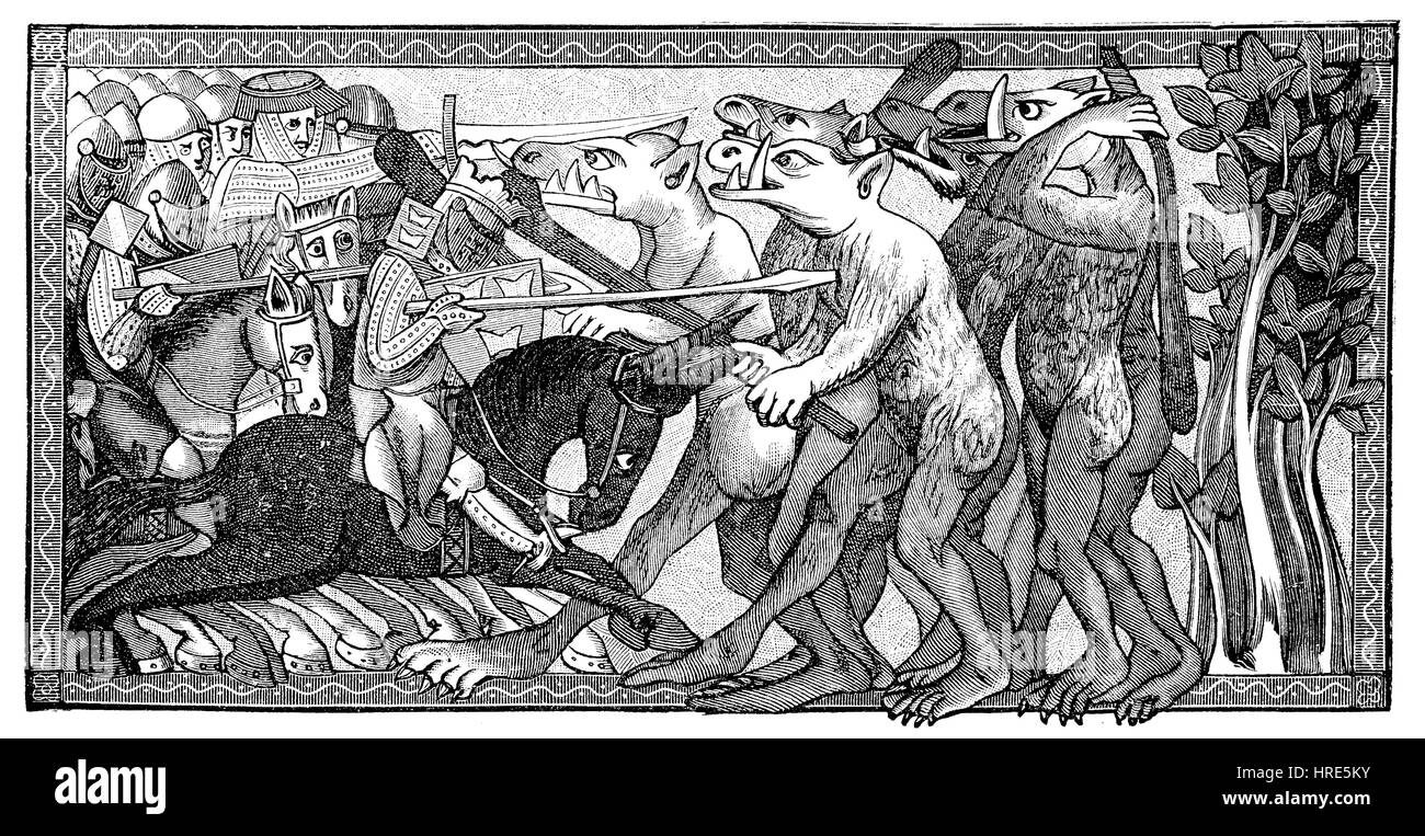 Alexander en batalla con criaturas fantásticas de forma humana con cabezas de caballos y dientes gigantes, Imagen De Stock