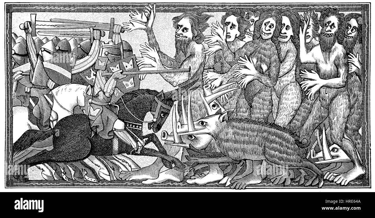 Alexander en la lucha con seis manos criaturas antropoides y cerdos con terribles dientes, desde el manuscrito de Imagen De Stock