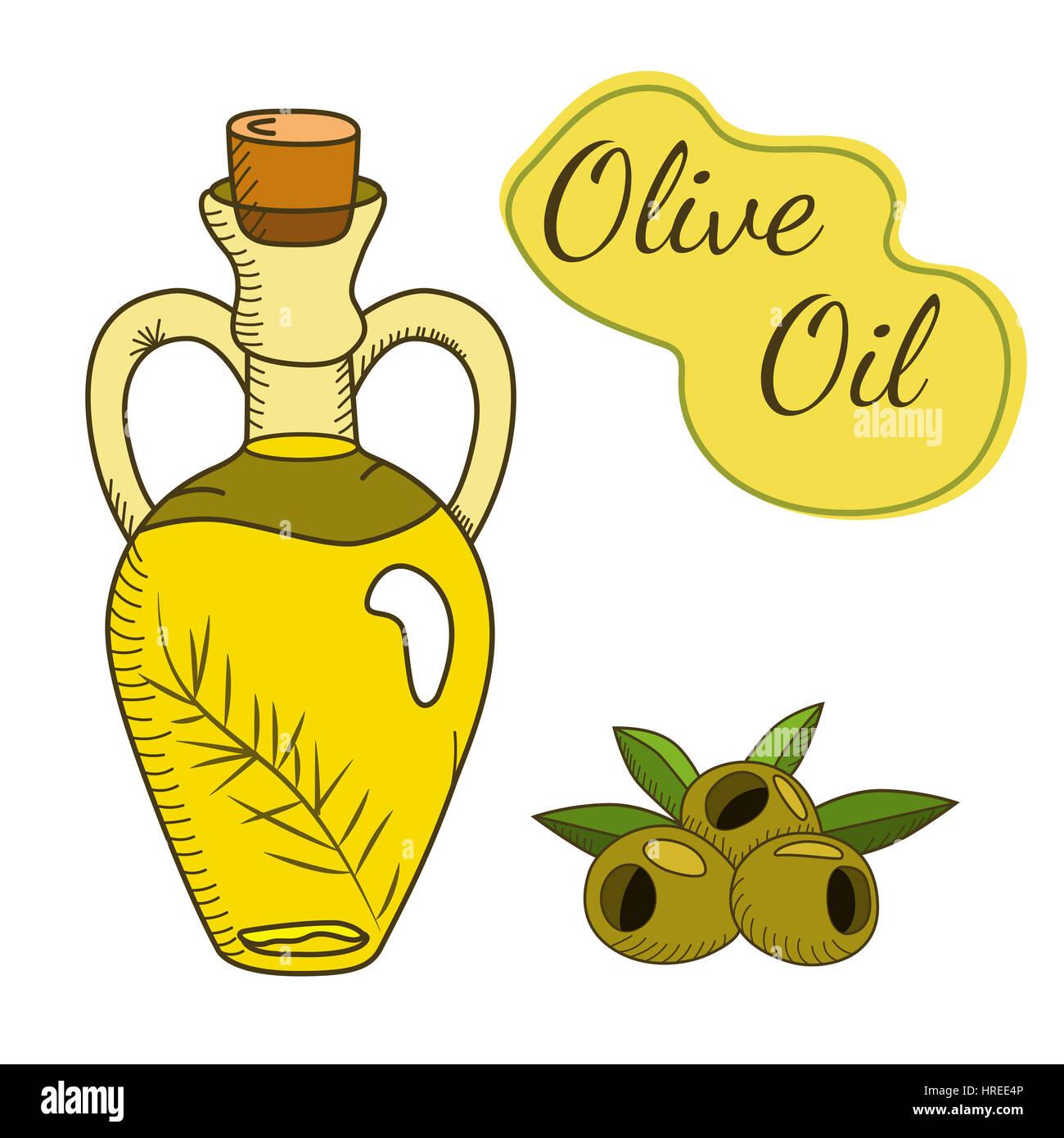 El aceite de oliva en la botella con una rama y bayas. Estilo boceto. EPS vectoriales dibujadas a mano10 ilustración. Imagen De Stock