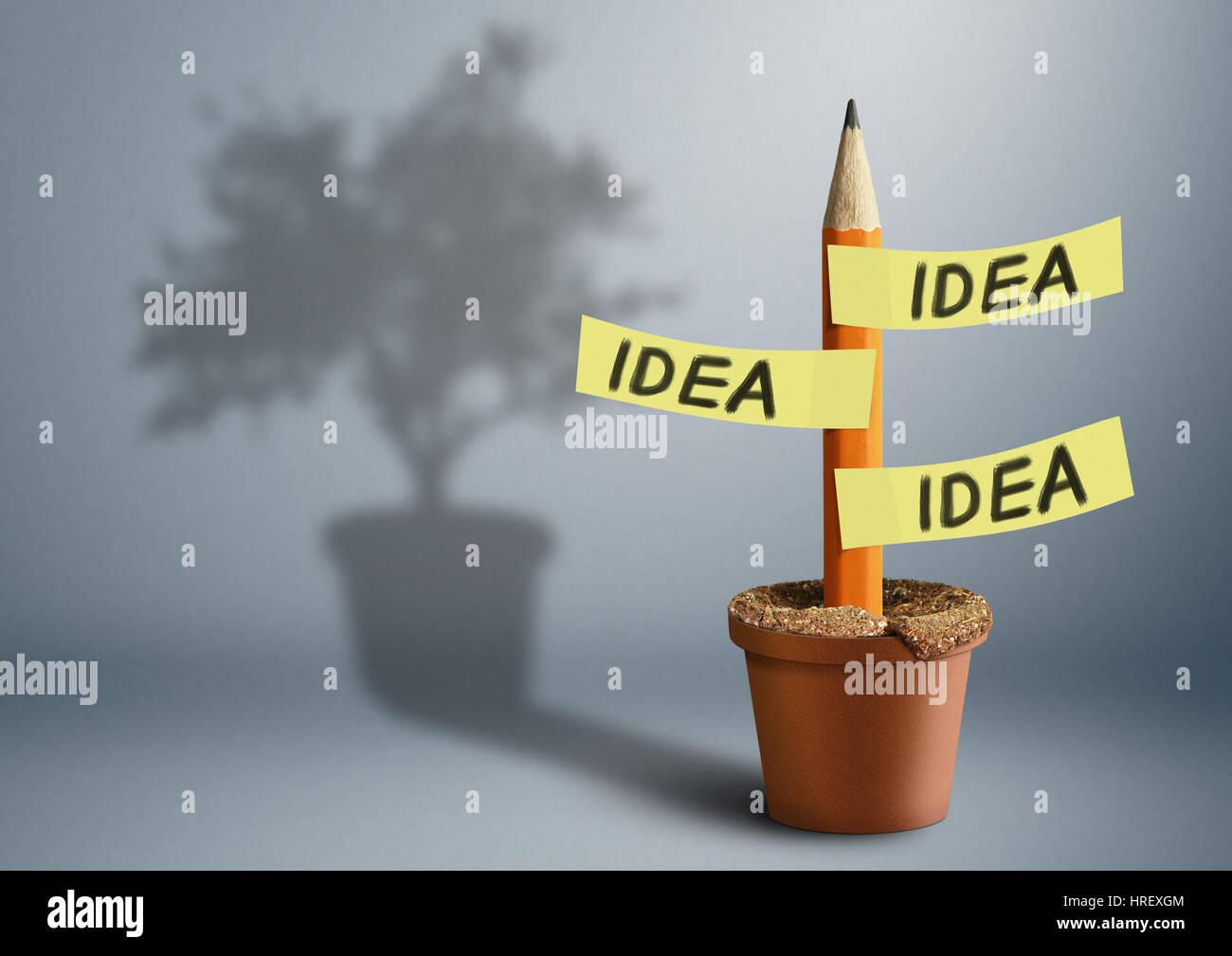 Idea El concepto creativo, lápiz con sombra de árbol Imagen De Stock