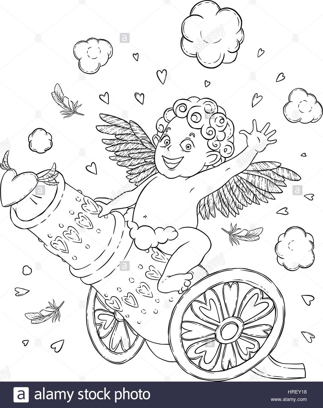 Día de San Valentín. Gracioso Cupido-boy cabalgando sobre un cañón ...