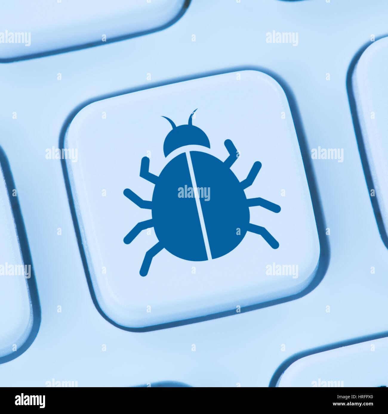 Virus troyano seguridad online red azul teclado internet Imagen De Stock
