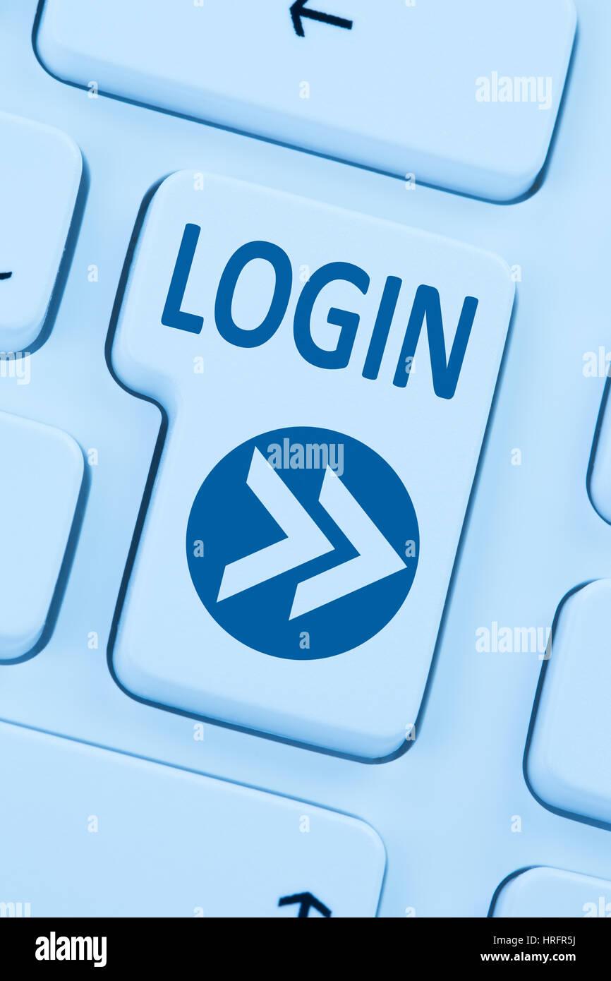 Botón de inicio de sesión enviar equipo azul teclado web online Imagen De Stock