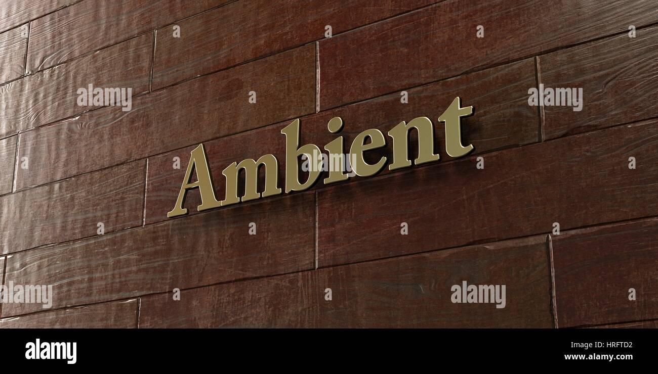 Ambiente - placa de bronce montadas en pared de madera de arce - 3D prestados imágenes royalty free. Esta imagen Imagen De Stock