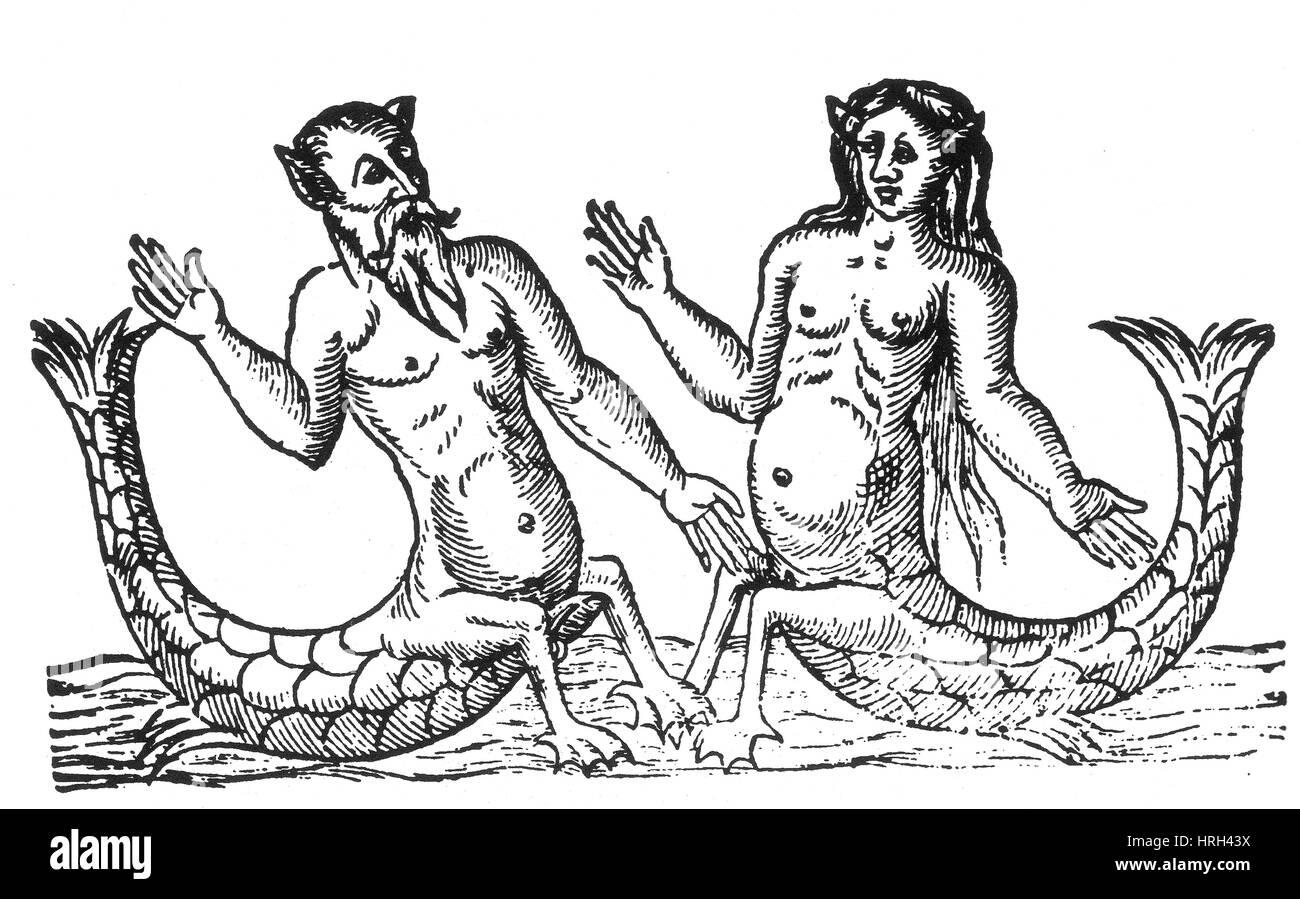 Tritón y sirena, criaturas legendarias Imagen De Stock