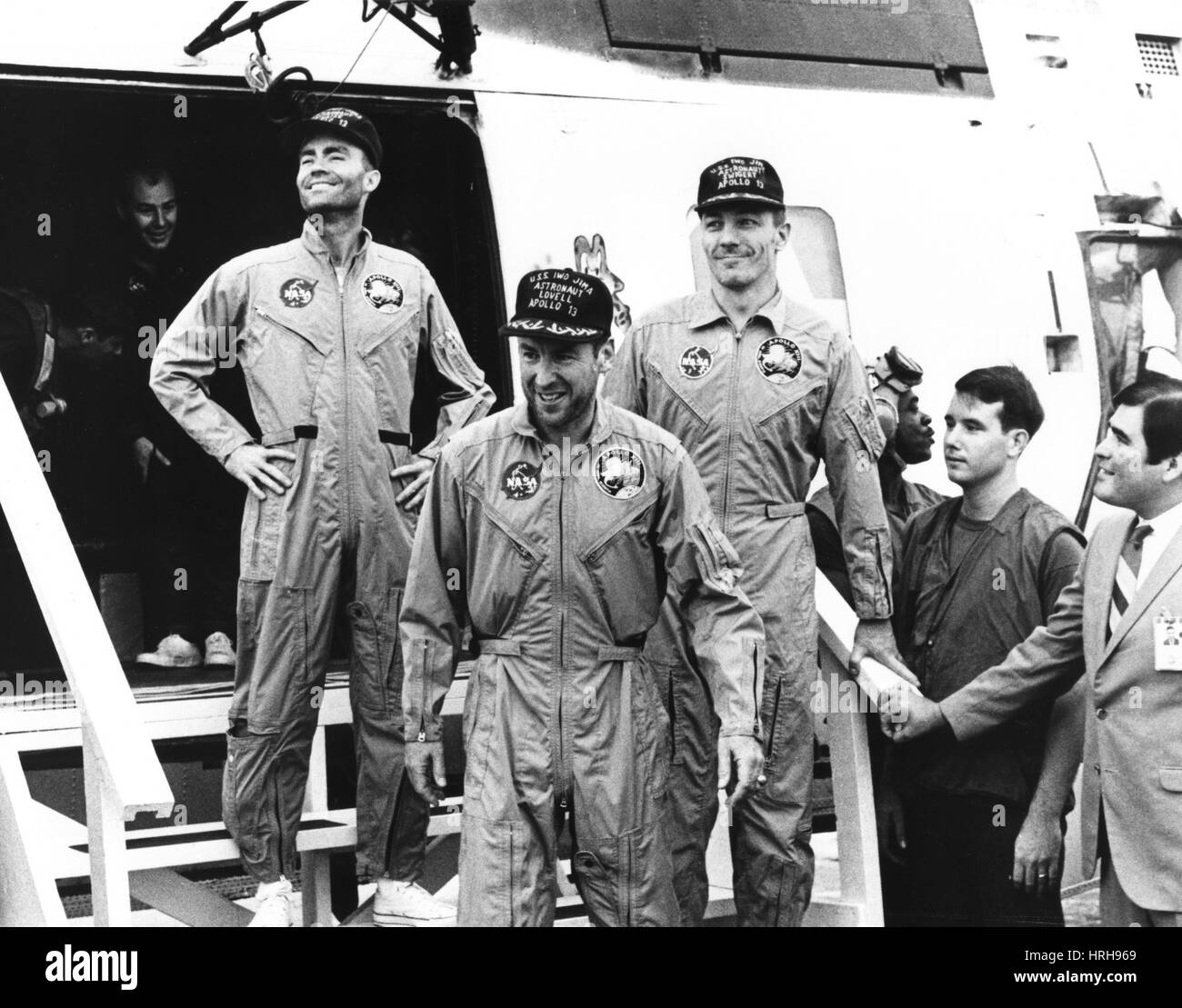 La tripulación del Apolo 13 vuelve a la tierra Imagen De Stock